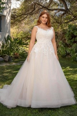Modest Sleeveless Tulle V-neck Plus size Ivory Summer Wedding Dress with Appliques