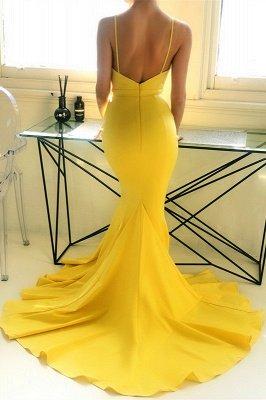 Ingwergelb tiefes V-Ausschnitt Abendkleid mit Kapellenzug | Sexy einfaches körperbetontes Abendkleid zum Verkauf_3
