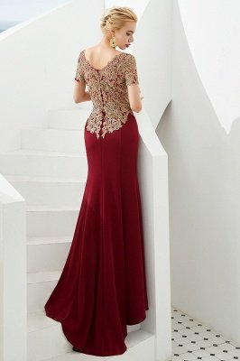 Hilary | Custom Made Short sleeves Burgundy Mermaid Prom Dress with Gold Lace Appliques_3