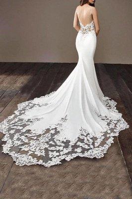 Robe de mariée en dentelle à bretelles spaghetti en ligne avec train chapelle   Robes de mariée blanches à moins de 200 $_5