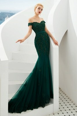 Harvey | Emerald green Mermaid Tulle Prom dress with Beaded Lace Appliques_10