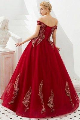 Генри | Элегантное красное плечевое платье принцессы с открытыми плечами и вышивкой с крылышками_5
