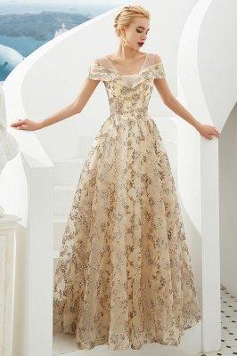 Herbert | Elegante vestido de fiesta dorado con hombros fríos y delicados apliques de encaje multicolor_5