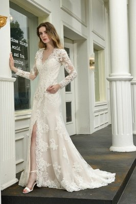 Delicate V-Neck High Split Long Sleeves Lace Wedding Dress With Court Train_7