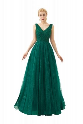Harriet | Shining Emerald green Sexy V-neck Princess Low back Prom Dress with Pleats_3