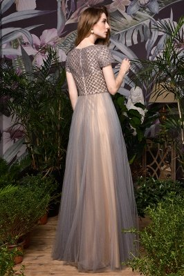 Aria | Stunning Short Sleeves Squared Sequined Tulle Luxury Prom Dress_3