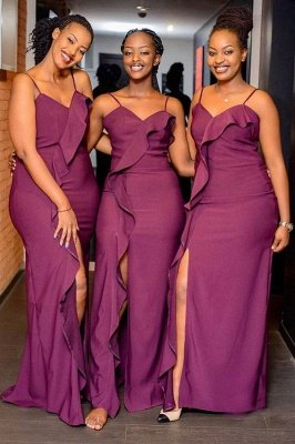 Elegant Spaghetti V Neck Floor Length Ruffles Bridesmaid Dresses | Purple Long Floor Length Maid Of Honor Dresses