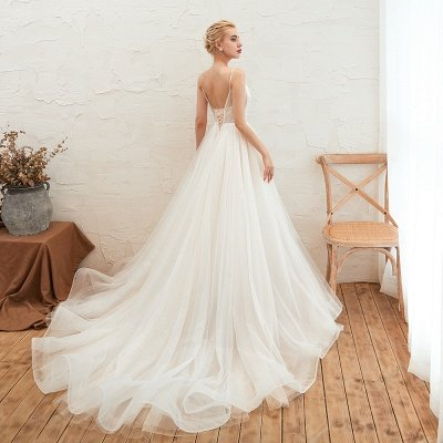 Summer Spaghetti Straps Plunging V-neck Champange Wedding Dress | Sexy Low Back Bridal Gowns Online_15