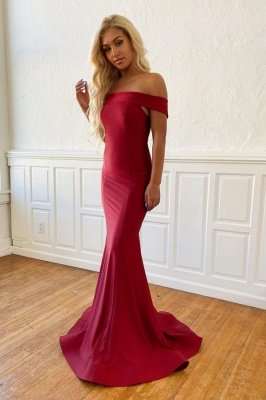 Rachel | Simple Off-the-shoulder Burgundy Mermaid Prom Dress, Cheap Fromal Evening Gowns