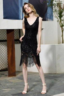 Arda | Black V-neck Sequined Short Cocktail Homecoming Dress_8