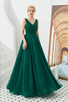 Harriet | Shining Emerald green Sexy V-neck Princess Low back Prom Dress with Pleats