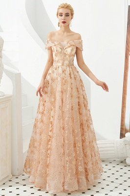 Hale | Romantisches Off-the-shoudler Rose Gold Schnürkleid aus Tüll mit funkelnden Applikationen_3