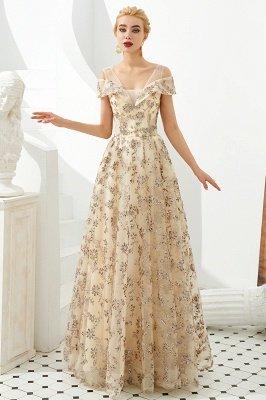Herbert | Élégante robe de bal d'épaule doré à épaules dénudées avec de délicats appliqués multicolores en dentelle_7
