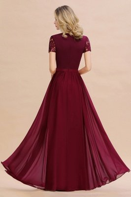 Abraham | Burgundy Short Sleeve Lace Simple Chiffon Formal Dress, Pink, Dark Green_5