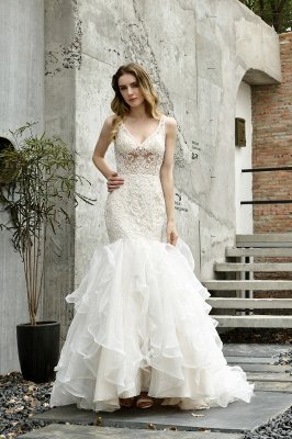 Sexy See-through Lace Mermaid Lace Sleeveless Ivory Wedding Dress with Ruffle Train