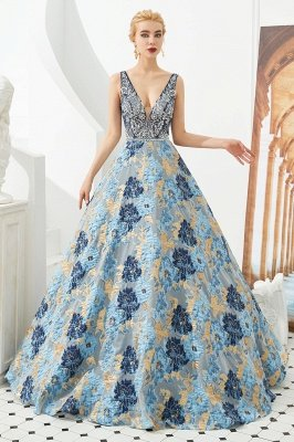 Heather | Luxury Floral Sexy Deep V-neck Princess Prom Dress with Deep V-back