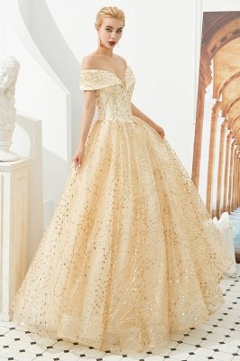 Herman | Luxury Off-the-shoulder Ball Gown for Prom/Evening with Sparkly Floral Appliques_7