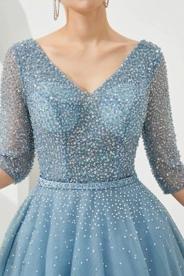 Harold   Discount V-neck Fully beaded 2/3 sleeves A-line Tulle Long Prom Dress_9