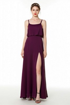 Elsa | Cheap Grape Square neck Bridesmaid Dress with sexy high Split