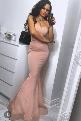 Hot and Sexy Strapless Mermaid Dusty Pink Simple Prom Dress in affordable price