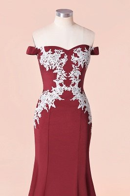 Mermaid Off The Shoulder Sweet Heart Lace Appliques Bridesmaid Dresses | Long Burgundy Gowns With Sweep Train_4