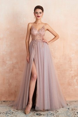 Charlotte | New Arrival Dusty Blue, Pink Spaghetti Strap Prom Dress with Sexy High Split, Evening Gowns Online_10