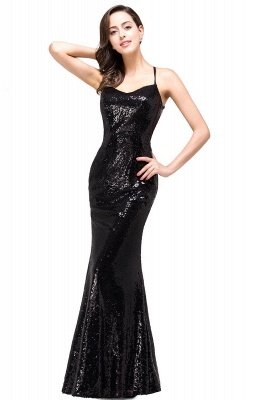 Glitter Spaghetti Prom Dress Sequins Mermaid Slim Evening Party Dress