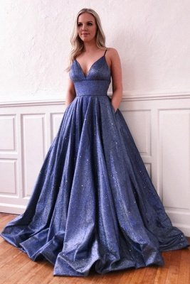 Sparkly Spaghetti strap Stromy Blue, Mauve Sexy Sequined Prom Dress