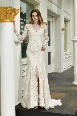 Delicate V-Neck High Split Long Sleeves Lace Wedding Dress With Court Train