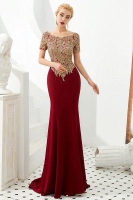 Hilary | Custom Made Short sleeves Burgundy Mermaid Prom Dress with Gold Lace Appliques_8