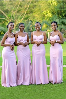 New Mermaid Spaghetti Straps Fit Split Pink Bridesmaid Dresses | Elegant Sweetheart Long gowns