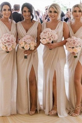 Simple Chiffon Long Bridesmaid Dresses | V-Neck Sleeveless Side-Slit Prom Dresses_1