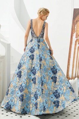 Heather | Luxury Floral Sexy Deep V-neck Princess Prom Dress with Deep V-back_6