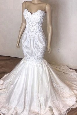 Stunning Strapless Mermaid White Beach Wedding Dress | Sexy Low Back Bridal Gowns on Sale