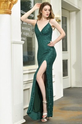 Ardell | Sexy Black Emerald Sequined High Slit Prom Dress Online_10