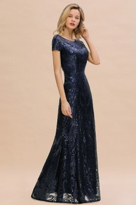 Helen| Long Sequined Cap sleeves Scoop neck Formal dress for Prom_11