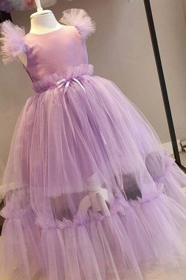 Cute Cap Sleeves Tulle Long Flower Girl Dresses | Lilac Princess Little Girls Pageant Dresses