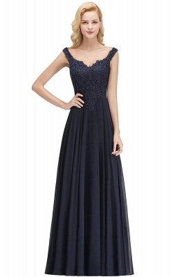 Elegant Off the shoulder Navy Long evening Dress with Soft Pleats