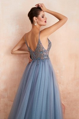 Charlotte | New Arrival Dusty Blue, Pink Spaghetti Strap Prom Dress with Sexy High Split, Evening Gowns Online_15