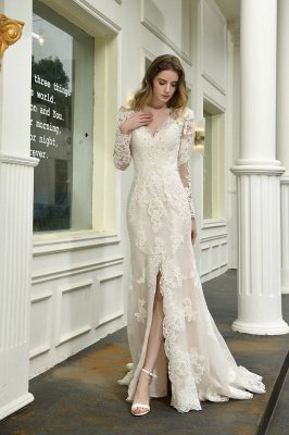 Delicate V-Neck High Split Long Sleeves Lace Wedding Dress With Court Train_5