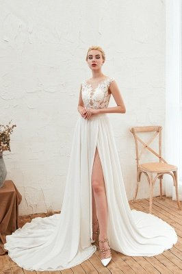 Sexy White High split Cap Sleeve Wedding Dress with see-through Back   Ivory Lace Bridal Gowns for Sale