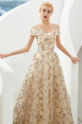 Herbert | Elegante vestido de fiesta dorado con hombros fríos y delicados apliques de encaje multicolor_4