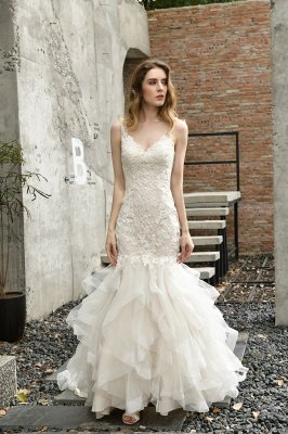 Luxury Mermaid Ivory V-neck Spring Lace Wedding Dress with Ruffles Train