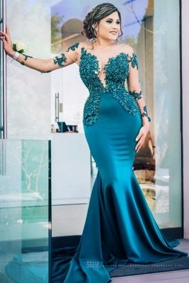 Classic Illusion neck Long Sleeve Blue Lace Appliques Prom Dress with Chapel Train