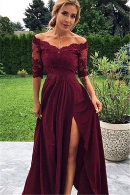 Burgundy Off The Shoulder Lace Half Sleeves Prom Dresses With Split | Cheap Chiffon Party Gowns