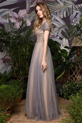Aria | Stunning Short Sleeves Squared Sequined Tulle Luxury Prom Dress_11
