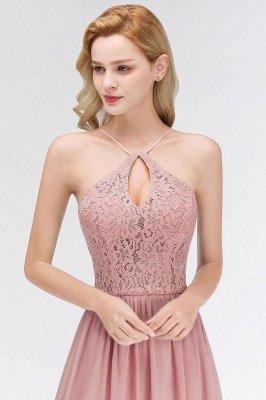 MADELEINE | Vestidos de dama de honor de espagueti largo con cuello de pico de una línea de encaje A-line_8