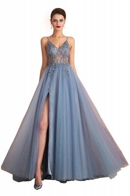 Charlotte | New Arrival Dusty Blue, Pink Spaghetti Strap Prom Dress with Sexy High Split, Evening Gowns Online_2