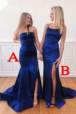 Sexy Royal Blue Backless High Split Mermaid Prom Dress with Chapel Train