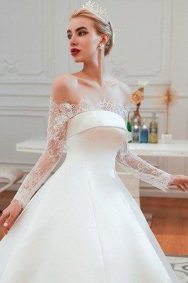 فستان زفاف الأميرة من الساتان بأكمام طويلة من الدانتيل الرومانسي | فساتين زفاف الأميرة مع قطار الكاتدرائية_9